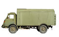 Isolated vintage army truck isolation of a green or military supply with clipping path Stock Photo