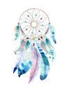 Isolated Watercolor decoration bohemian dreamcatcher. Boho feathers decoration. Native dream chic design. Mystery etnic tribal pr Royalty Free Stock Photo