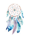 Isolated Watercolor decoration bohemian dreamcatcher. Boho feathers decoration. Native dream chic design. Mystery etnic tribal pr