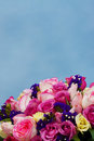 Isolated wedding bouquet close up of on blue sky Royalty Free Stock Photography