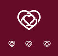 Isolated white abstract monoline heart logo set. Love logotypes. St. Valentines day icon. Wedding symbol. Amour sign
