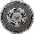 Isolated on white car truck clutch. Close up front view of new composite clutch disc inside open housing for trucks and tractors Royalty Free Stock Photo