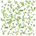 Isolated on white money rain fall earnings luck fortune banknote flying floating confetti 3d realistic design vector