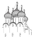 Isolated on white orthodox church sketch illustration with background Royalty Free Stock Photos