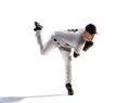 Isolated on white professional baseball player Royalty Free Stock Photo