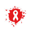Isolated white ribbon disease awareness. Red blood stain logo. World Aids Day concept. Stop virus icon. International