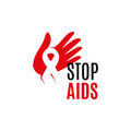 Isolated white ribbon in red human hand. Disease awareness. World Aids Day concept. Stop virus icon. International