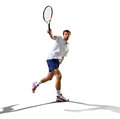 Isolated on white young man is playing tennis Royalty Free Stock Photo