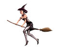 Isolated witch on a broomstick Royalty Free Stock Photos