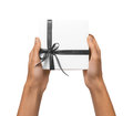 Isolated Woman Hands holding Holiday Present White Box with Grey Royalty Free Stock Photo