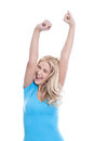 Isolated woman raised up hands young blonde success Stock Image