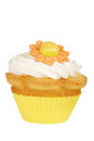 Isolated yellow flower cupcake Royalty Free Stock Images