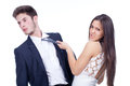 Isolated young business couple seducing Royalty Free Stock Photography