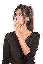 Isolated young business woman have secrets black dress shocked and outraged Royalty Free Stock Images