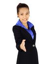 Isolated young business woman with shake hands posing on white Royalty Free Stock Photography