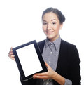 Isolated young business woman showing tablet this image has attached release Stock Photos
