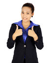 Isolated young business woman withn two thumbs up posing on white Royalty Free Stock Images