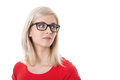 Isolated young businesswoman with glasses and red shirt. Royalty Free Stock Photo