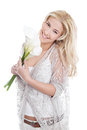 Isolated young woman holding flowers Royalty Free Stock Photo