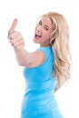 Isolated young woman thumbs up Royalty Free Stock Photo
