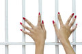 Isolates of woman fingers with red nails. Stock Photography