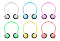 Isolation With Clipping Path Of Pastel Colored Headphones On Whi Royalty Free Stock Photo