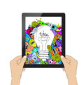 Isolation man hand holding the tablet and Monster idea Royalty Free Stock Photo