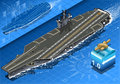 Isometric Aircraft Carrier in Navigation in Front  Stock Photo