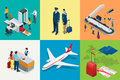 Isometric Airport Travel and transport Icons. Isolated people, airport terminal, airplane, traveler man and woman