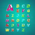 Isometric alphabet font.Capital letter A to Z Royalty Free Stock Photo