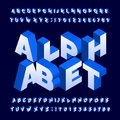 Isometric alphabet font. Three-dimensional effect bold letters and numbers. Royalty Free Stock Photo