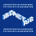 Isometric alphabet font. Three-dimensional effect uppercase letters and numbers.