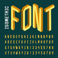 Isometric alphabet vector font. Royalty Free Stock Photo