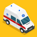 Isometric ambulance carv emergency medical van Royalty Free Stock Photo