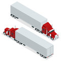 Isometric American Show truck tractor. Transporting large loads over long distances. Logistics network. Intermodal