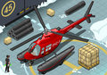 Isometric arctic emergency helicopter in front view detailed illustration of a landed this illustration is saved eps with color Stock Images
