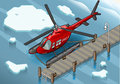 Isometric Arctic Emergency Helicopter at Pier Stock Image