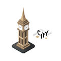 Isometric big ben icon, building city infographic element, vector illustration Royalty Free Stock Photo
