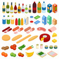 Isometric big set of foodstuff. Vector food Icons set. Royalty Free Stock Photo