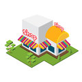 Isometric big shop isolated vector Stock Photos