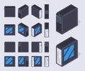 Isometric black PC cases Royalty Free Stock Photo