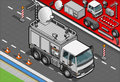 Isometric broadcast tv truck in front view detailed illustration of a this illustration is saved eps with color space rgb Stock Image