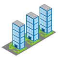 Isometric building and car park vector buildings Royalty Free Stock Photo