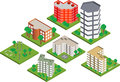 Isometric buildings Royalty Free Stock Photos