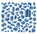 Isometric buildings a large set of Stock Photo