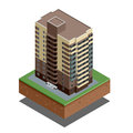 Isometric buildings real estate - city buildings - Residential house - decorative icons set -  vector Royalty Free Stock Photo