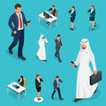 Isometric Business man and woman with phone Young man phoning smart phone with messenger app. Flat illustration of Royalty Free Stock Photo
