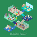 Isometric Business Office Center Building Interior with Conference Room and Gym