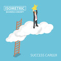 Isometric businessman climbing up over the cloud and reaching ha Royalty Free Stock Photo
