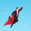 Isometric businessman flying in the sky like a superhero.